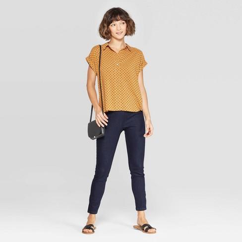 fd554956462 Women s Geo Print Short Sleeve Popover Shirt - A New Day™ Rust   Target