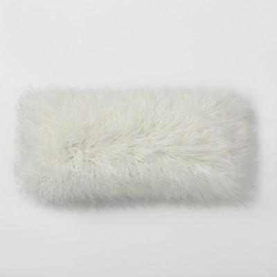 Cream Mongolian Faux Fur Oversize Lumbar Throw Pillow - Project 62™