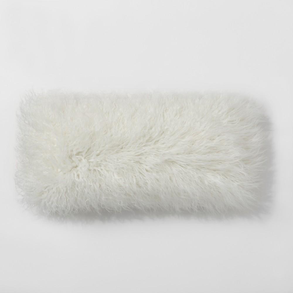 Cream (Ivory) Mongolian Faux Fur Oversize Lumbar Throw Pillow - Project 62