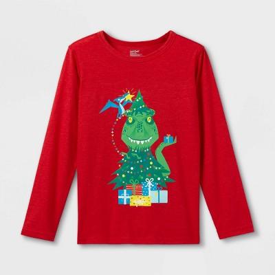 Boys' Adaptive Christmas Dinosaur Long Sleeve Graphic T-Shirt - Cat & Jack™ Red