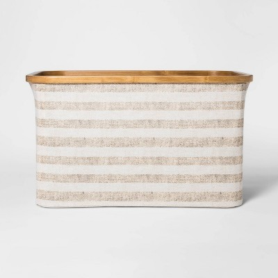 Soft Sided Striped Laundry Basket With Bamboo Rim - Beige - Threshold™