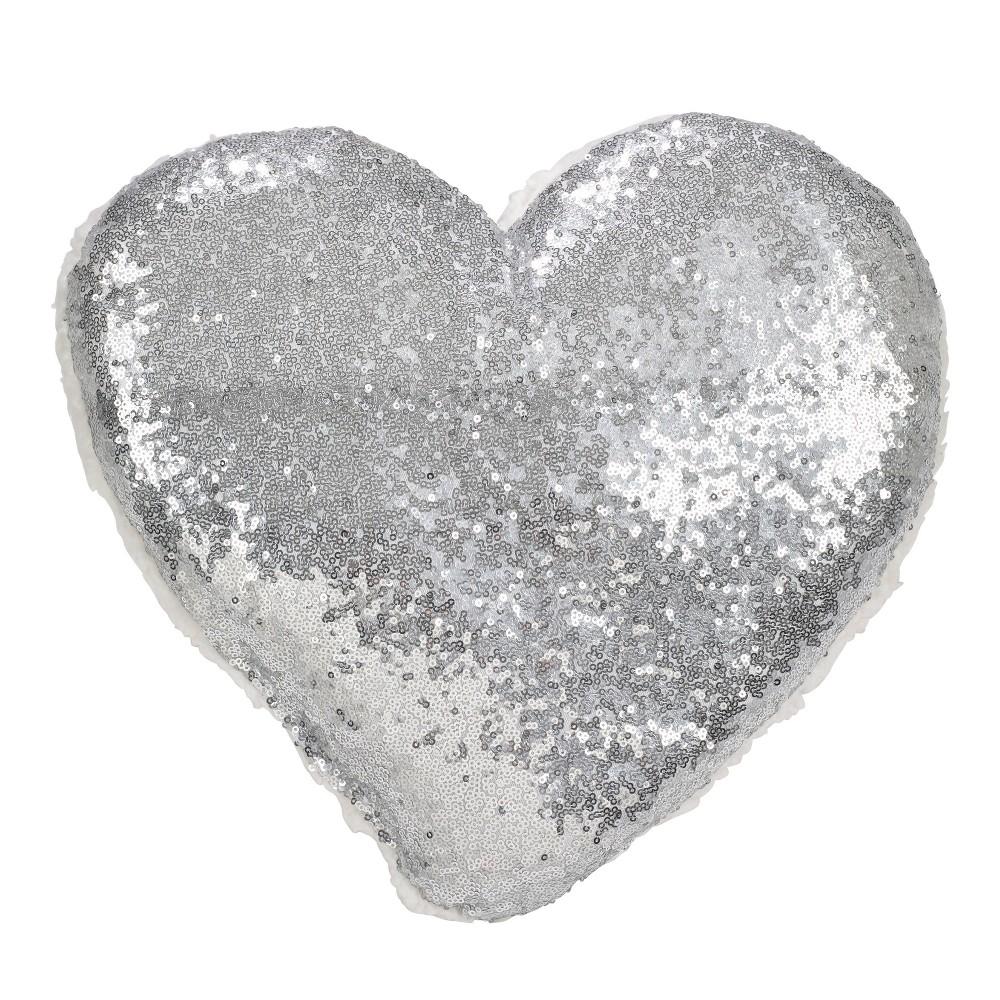 Poly Filled Heart Sequin Throw Pillow Silver Saro Lifestyle