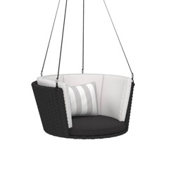 Sally Patio Hanging Swing - Gray/White/Black - Novogratz Poolside Collection