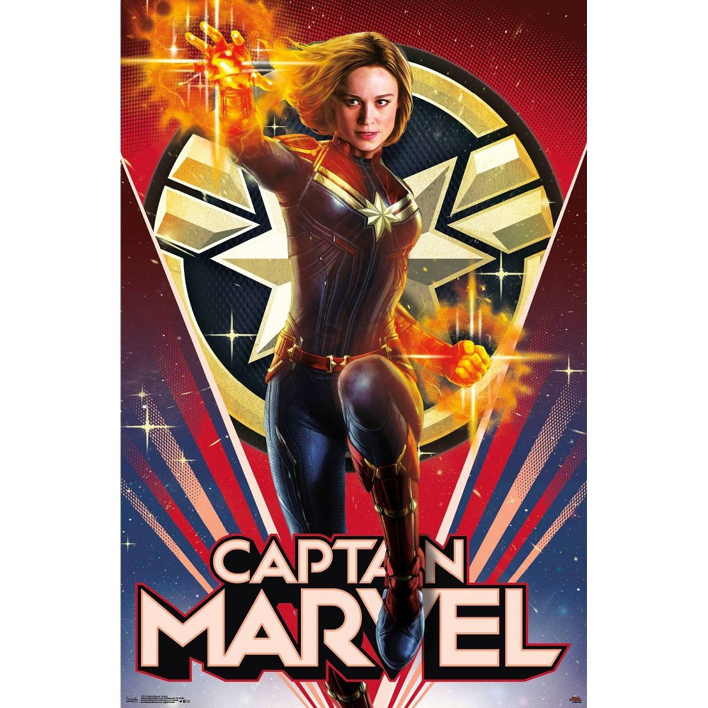 Best Sale 34 X 23 Captain Marvel Heroic Unframed Wall Poster Print Trends International Multi Colored