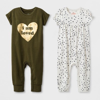 Baby Girls' 2pk Romper Set - Cat & Jack™ Olive/White 18M