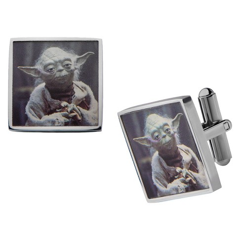 Men's Star Wars Yoda Graphic Stainless Steel Square Cufflinks - image 1 of 1