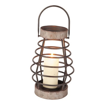 Small Rustic Cage Wire Metal Pillar Candle Holder - Foreside Home & Garden