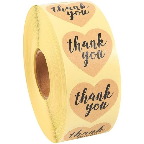 Best Paper Greetings 1000 Piece Kraft Brown Heart Shaped Thank You Stickers Labels Roll 1 In For Party Favors Target