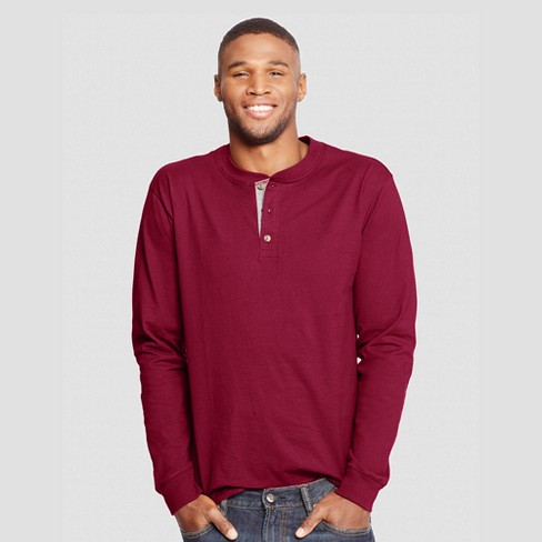 Hanes Men's Long Sleeve Beefy Henley Shirt - image 1 of 1