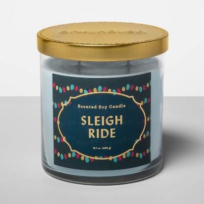 15.1oz Lidded Glass Jar 2-Wick Candle Sleigh Ride - Opalhouse™
