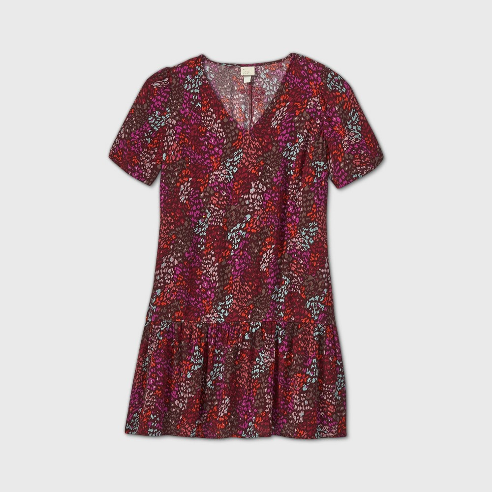 1920s Downton Abbey Dresses Womens Plus Size Floral Print Short Sleeve Ruffle Hem Dress - A New Day Burgundy 4X Red $24.99 AT vintagedancer.com
