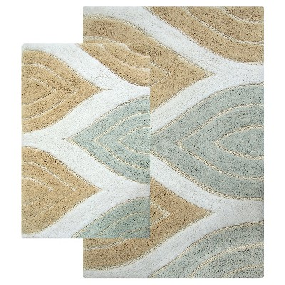 Davenport 2 - Pc. Bath Rug Set Tan & White - Chesapeake Merch Inc.®