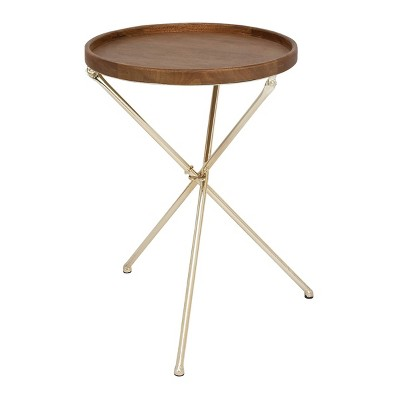 Traditional Round Tray Table Brown - Olivia & May