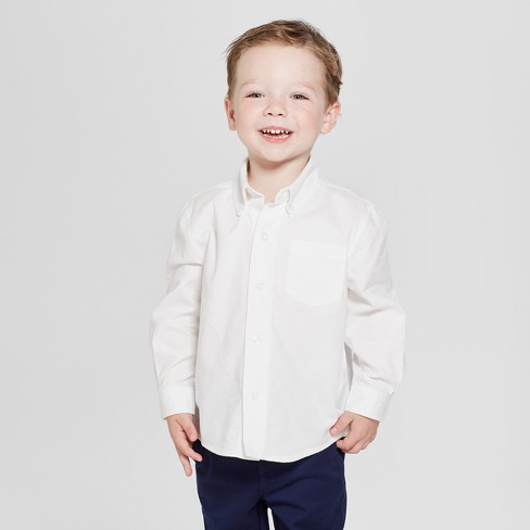 726a5c06f Toddler Boys' Long Sleeve Uniform Oxford Button-Down Shirt - Cat & Jack™  White