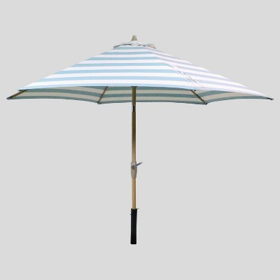 9' Round Cabana Stripe Patio Umbrella Turquoise - Light Wood Pole - Threshold™