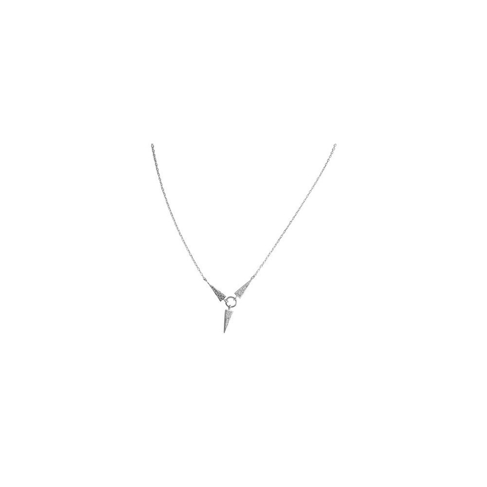Women's Zirconite Necklace with Spike Pave Cubic Zirconia in Sterling Silver - Rhodium