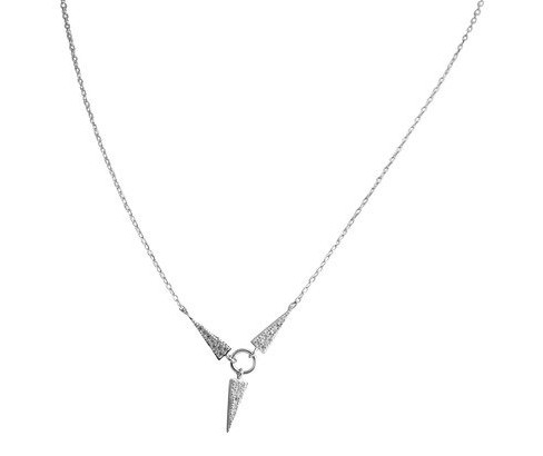 Women's Zirconite Necklace with Spike Pave Cubic Zirconia in Sterling Silver - Rhodium - image 1 of 1