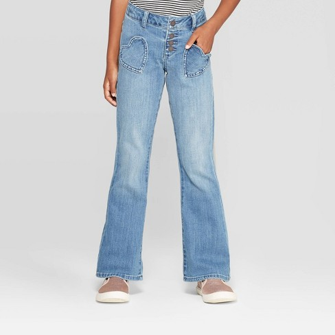 Girls' Heart Pocket Flare Jeans - Cat & Jack™ Light Wash - image 1 of 3