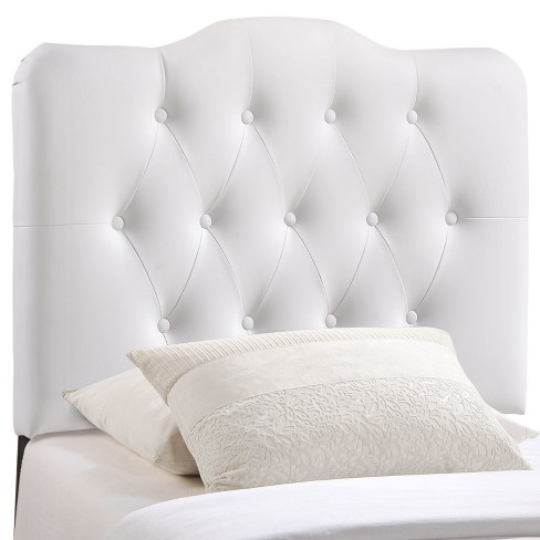 Annabel Twin Upholstered Vinyl Headboard White - Modway - image 1 of 5