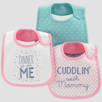 Baby Girls' 3pk Dinner on Me Bib - Just One You® made by carter's Pink