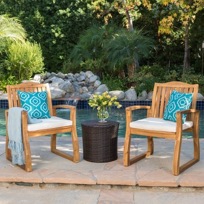 Tampa 3pc Acacia Wood & Wicker Patio Chat Set - Brown - Christopher Knight Home
