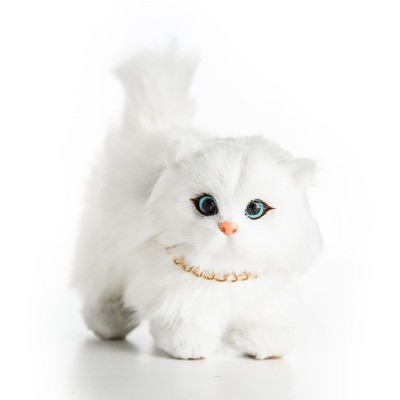 The Queen's Treasures White Long Hair Kitty Cat Pet For 18 Inch Dolls