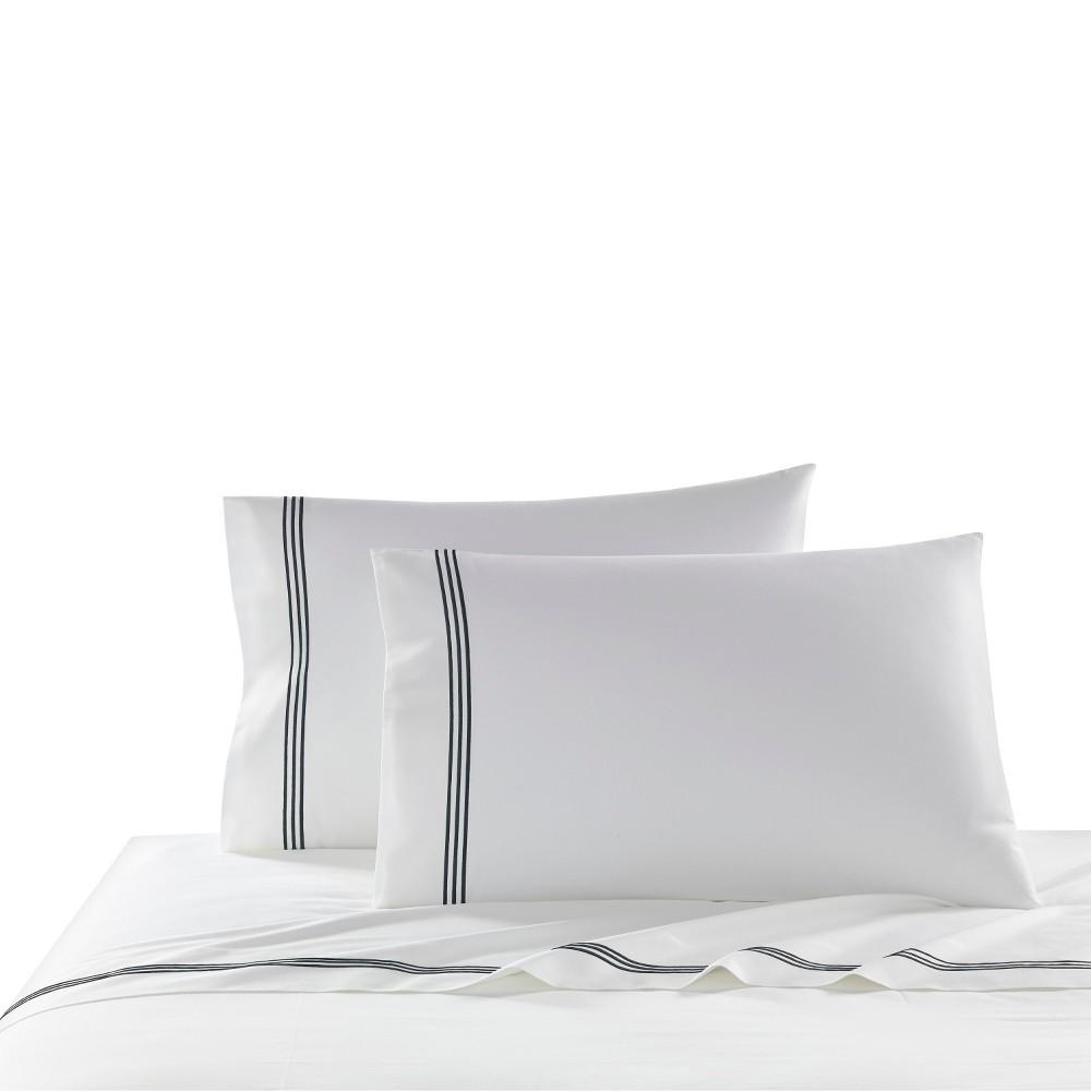 Image of King 2pk Triple Line Solid Pillowcase Set Black - Cassadecor