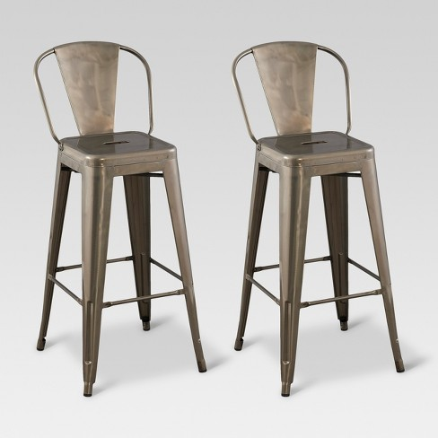 Carlisle 29 Quot Backed Barstool Distressed Metal Set Of 2