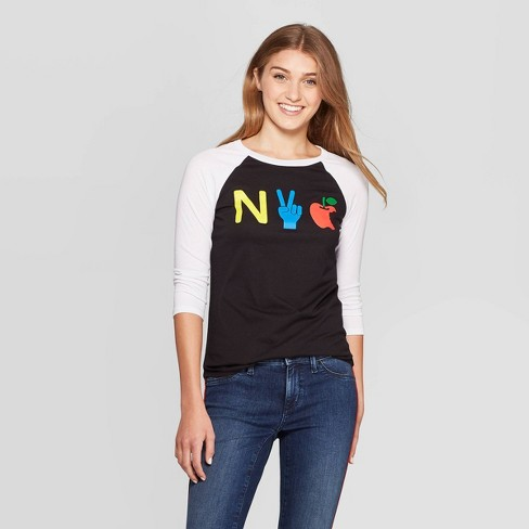 Women's 3/4 Sleeve Crewneck NYC Graphic T-Shirt - Modern Lux Black - image 1 of 2