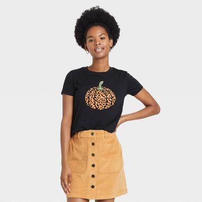 Women's Halloween Pumpkin Leopard Print Logo Short Sleeve Graphic T-Shirt - Black