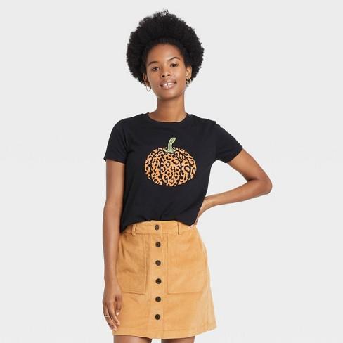 Women's Halloween Pumpkin Leopard Print Logo Short Sleeve Graphic T-Shirt - Black - image 1 of 3