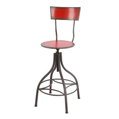 Industrial Style Metal Bar Chair with Adjustable Seat - Benzara