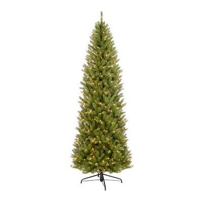 7.5ft Pre-lit Artificial Pencil Artificial Christmas Tree Slim Forest Fir