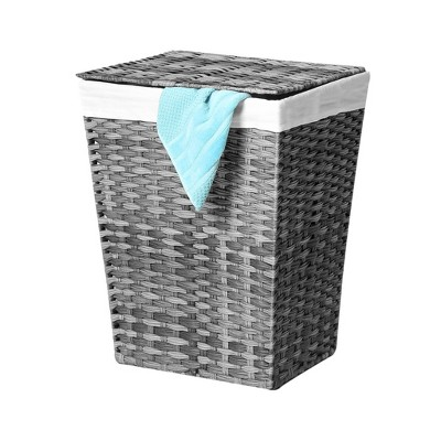 Seville Classics Handwoven Lidded Laundry Hamper With Canvas Liner Gray