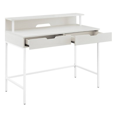"40"" Contempo Desk with 2 Drawers and Shelf Hutch White Oak - OSP Home Furnishings"