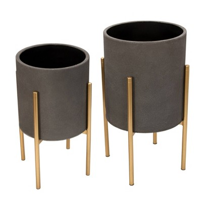 Set of 2 Planter on Metal Stand - Sagebrook Home