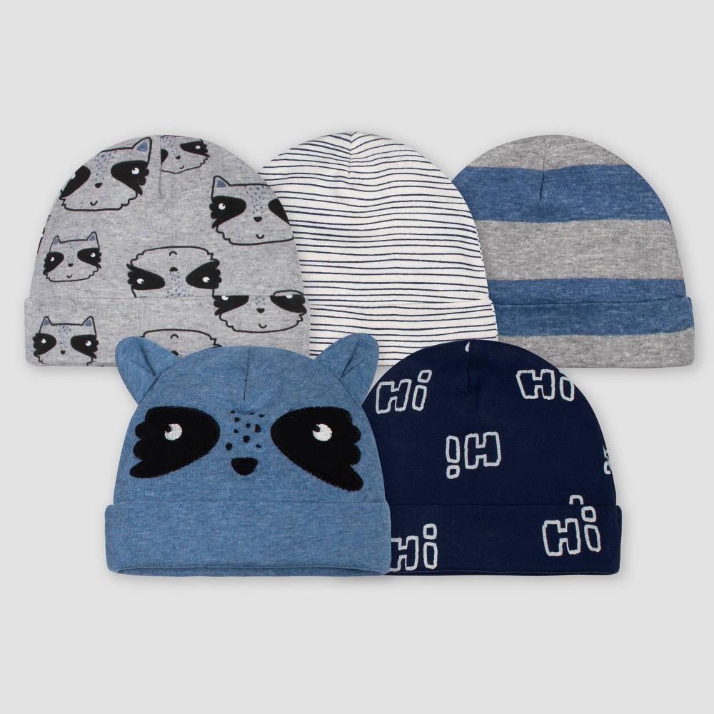 Image of Gerber Baby Boys' 5pk Raccoon Caps - Blue/Gray 0-6M, Boy's, Size: Small