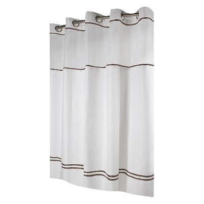 Solid Shower Curtain Brown - Hookless