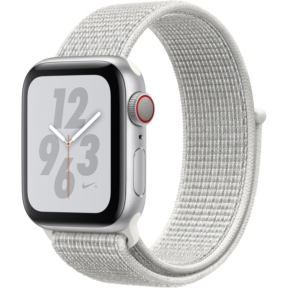 Apple Watch Series 4 Nike+ Gps & Cellular 40mm Silver Aluminum Case with Nike Sport Loop - Summit White, White Sport Loop Track your runs with Gps and altimeter. Pair your watch wirelessly with compatible gym equipment. Apple Watch Nike+ is swimproof, so you can take a post-run dip in the pool. And built-in cellular lets you stream your favorite music and get phone calls, messages, and notifications—even when you don't have your phone. There are new Nike watch faces and bands: The Nike Sport Band with compression-molded perforations for breathability and the Nike Sport Loop is woven with a special reflective thread. Selection may vary; see a sales associate for available models. Apple Watch Series 4 (Gps + Cellular) requires an iPhone 6 or later with iOS 12 or later. Wireless service plan required for cellular service. Apple Watch and iPhone service provider must be the same. Not all service providers support enterprise accounts; check with your employer and service provider. Roaming is not available outside your carrier network coverage area. Contact your service provider for more details. Iso standard 22810:2010. Appropriate for shallow-water activities like swimming. Submersion below shallow depth and high-velocity water activities not recommended. Compared with the previous generation. Color: White Sport Loop.
