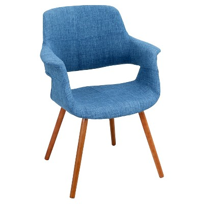 Vintage Flair Mid Century Modern Walnut Wood Legged Dining Chair Polyester/Blue - LumiSource
