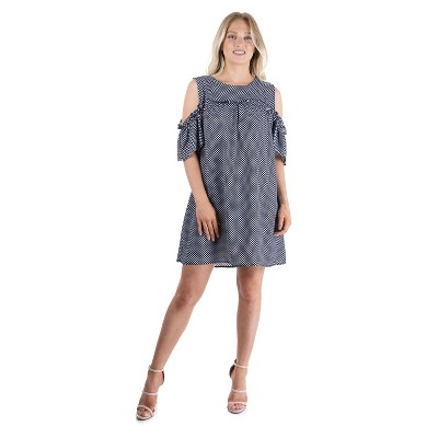 24seven Comfort Apparel Women's Polka Dot Print Dress