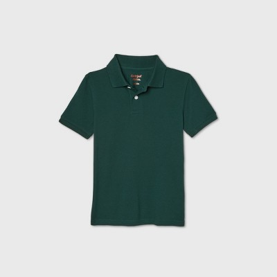 Boys' Short Sleeve Stretch Pique Uniform Polo Shirt - Cat & Jack™ Dark Green