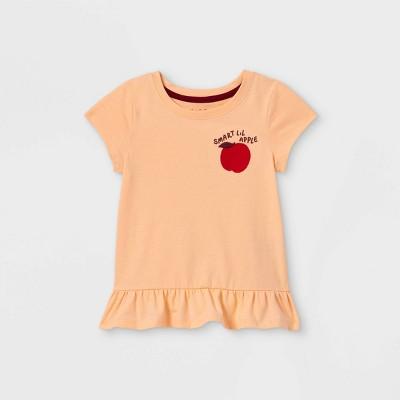 Toddler Girls' Apple Embroidered Peplum Short Sleeve T-Shirt - Cat & Jack™ Light Peach