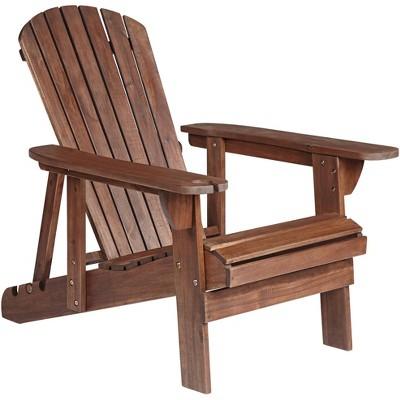 Teal Island Designs Kava Dark Brown Wood Outdoor Adirondack Chair w/ Wine Holder