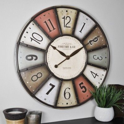 "27"" Color Motif Farmhouse Wall Clock Red/Yellow - FirsTime & Co."