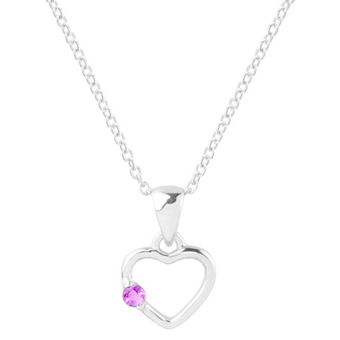 1/10 CT. T.W. Round-Cut Cubic Zirconia Pave Set Heart Birthstone Necklace in Sterling Silver - Fuchsia - image 1 of 2