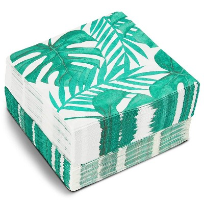 """Blue Panda 150 Pack Tropical Palm Leaf Disposable Luncheon Paper Napkins 6.5"""" for Hawaiian Luau Party Decorations"""