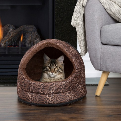 PETMAKER Cozy Canopy Pet Cave Bed- Leopard Print - image 1 of 4