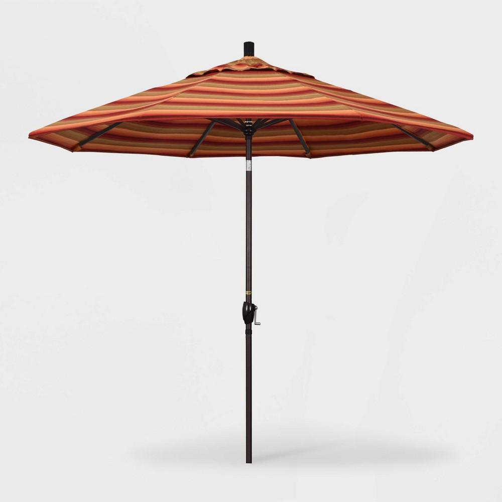9' Pacific Trail Patio Umbrella Push Button Tilt Crank Lift - Sunbrella Astoria Sunset - California Umbrella