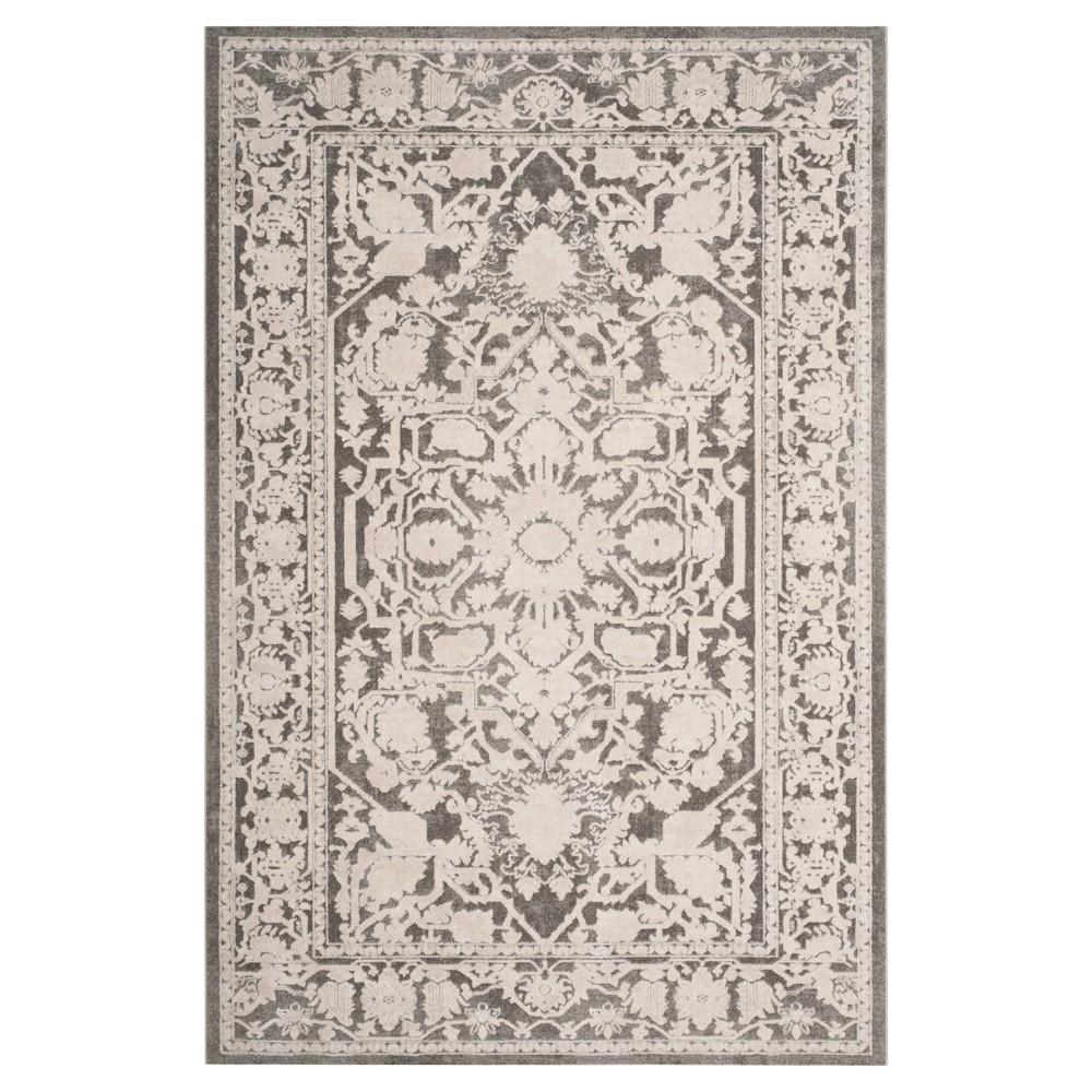 Dark Gray/Cream (Dark Gray/Ivory) Floral Loomed Area Rug 5'1